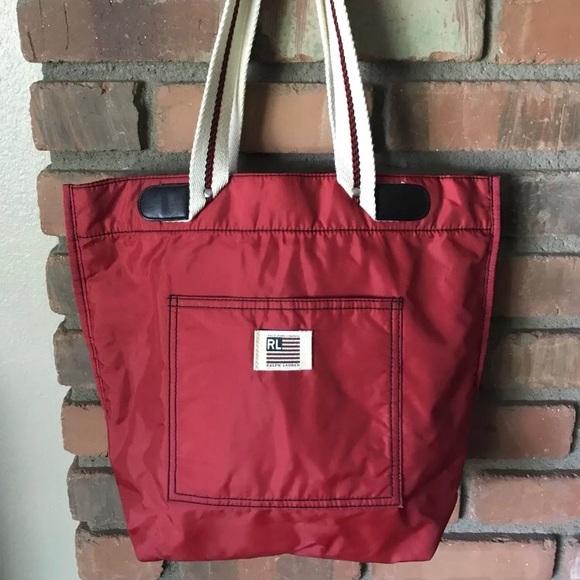 b82af5cf49 VTG Polo Ralph Lauren Red Nylon Tote Travel Bag. M 5b7112178158b5f75422ee2c